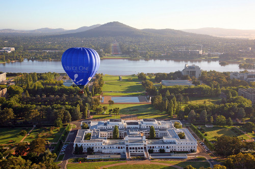 Aerial view over old Parliament House, Canberra